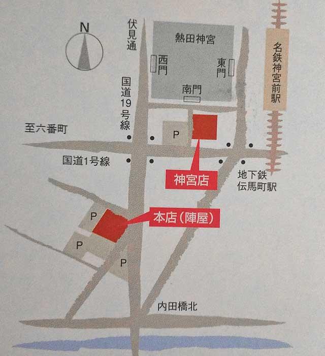 あつた蓬莱軒の地図