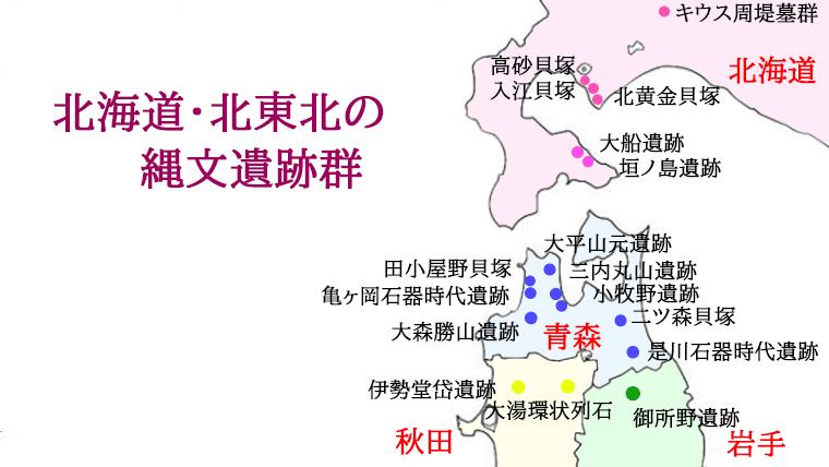 北海道・東北の縄文遺跡群地図