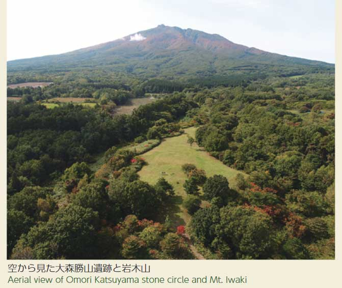 空から見た大森勝山遺跡と岩木山