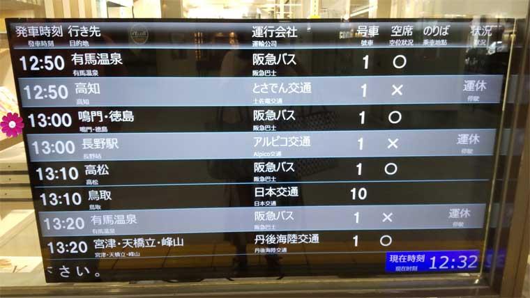 三番街バスターミナルの電光掲示板